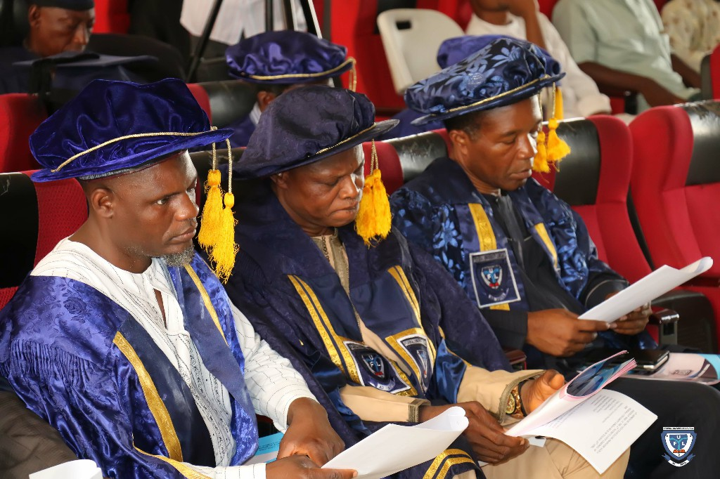 L-R: Alh. Alhassan Sheikh Ibrahim, University Bursar, Mr. Usman Suleman Obansa, Registrar and Professor Makanjuola Osagbemi, Deputy Vice-Chancellor at the 6th Matriculation Ceremony