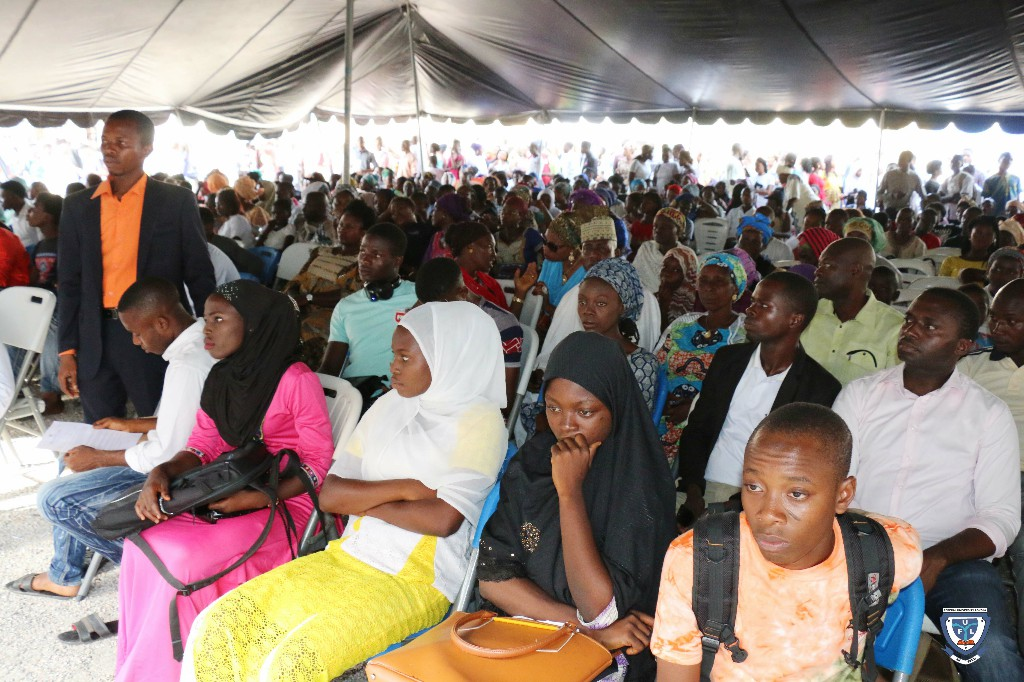 Parents, guardians, friends and well wishers of the Matriculating Students at the overflow outside the University Auditorium