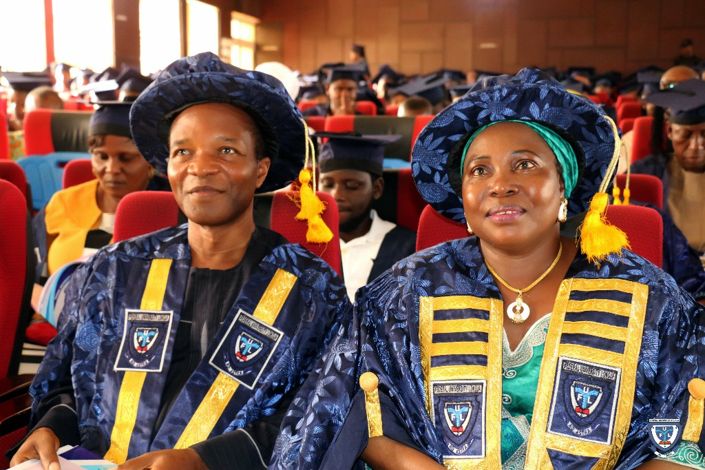 The Vice-Chancellor, Professor Angela Freeman Miri (right) and the Deputy Vice-Chancellor, Professor Makanjuola Osagbemi (left) at the 6th Matriculation Ceremony