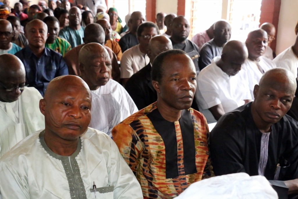L-R: Prof. Patrick Amidu Audu, Dean of the School of Postgraduate Studies, Prof. Makanjuola O. Osagbemi, Deputy Vice-Chancellor and Mr. Usman Suleman Obansa, Registrar during the Requiem Mass for the repose of the deceased at St. Louis Catholic Archdiocese of Jos, Plateau State