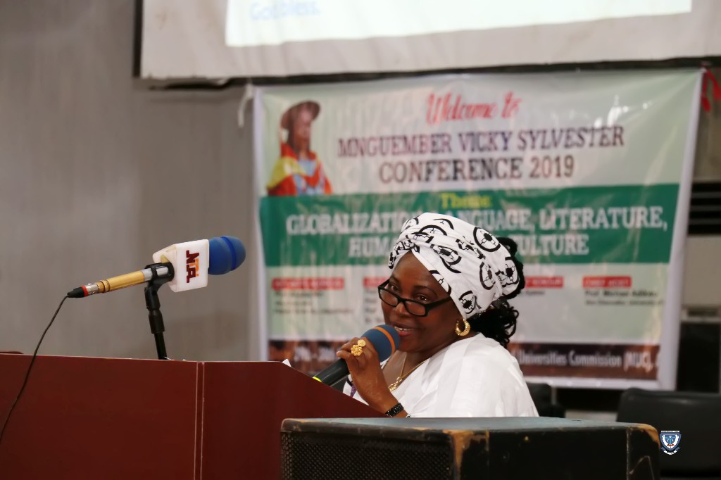 Professor Angela F. Miri delivering a Keynote Address at the SylvesterConfab 2019 held in NUC, Abuja
