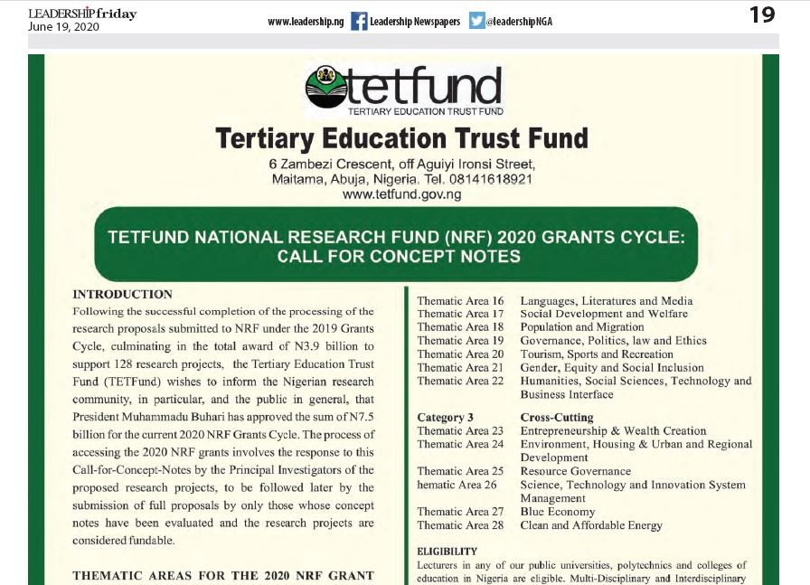 Tetfund National Research Fund (nrf) 2020 Grants Cycle: Call For Concept Notes