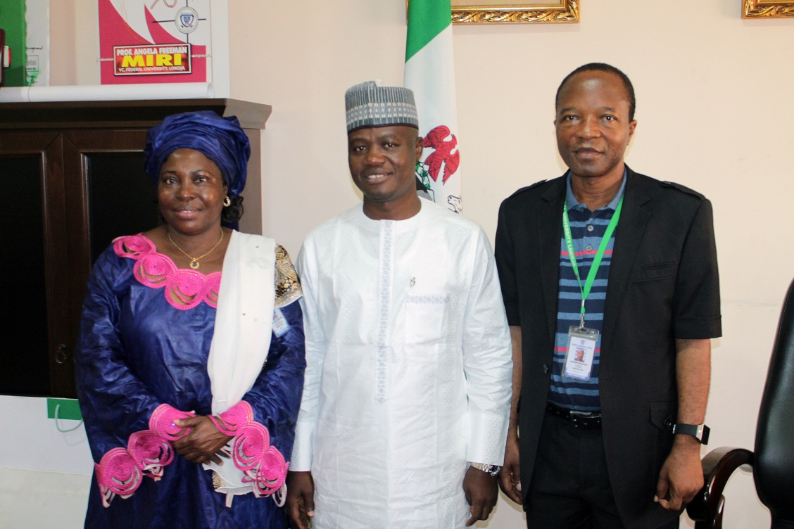 L-R: Professor Angela Freeman Miri, Vice-Chancellor, Honourable Umar Imam, Speaker Kogi State House of Assembly and Professor Makanjuola Olayemisi Osagbemi, Deputy Vice-Chancellor during the courtesy visit of the Speaker